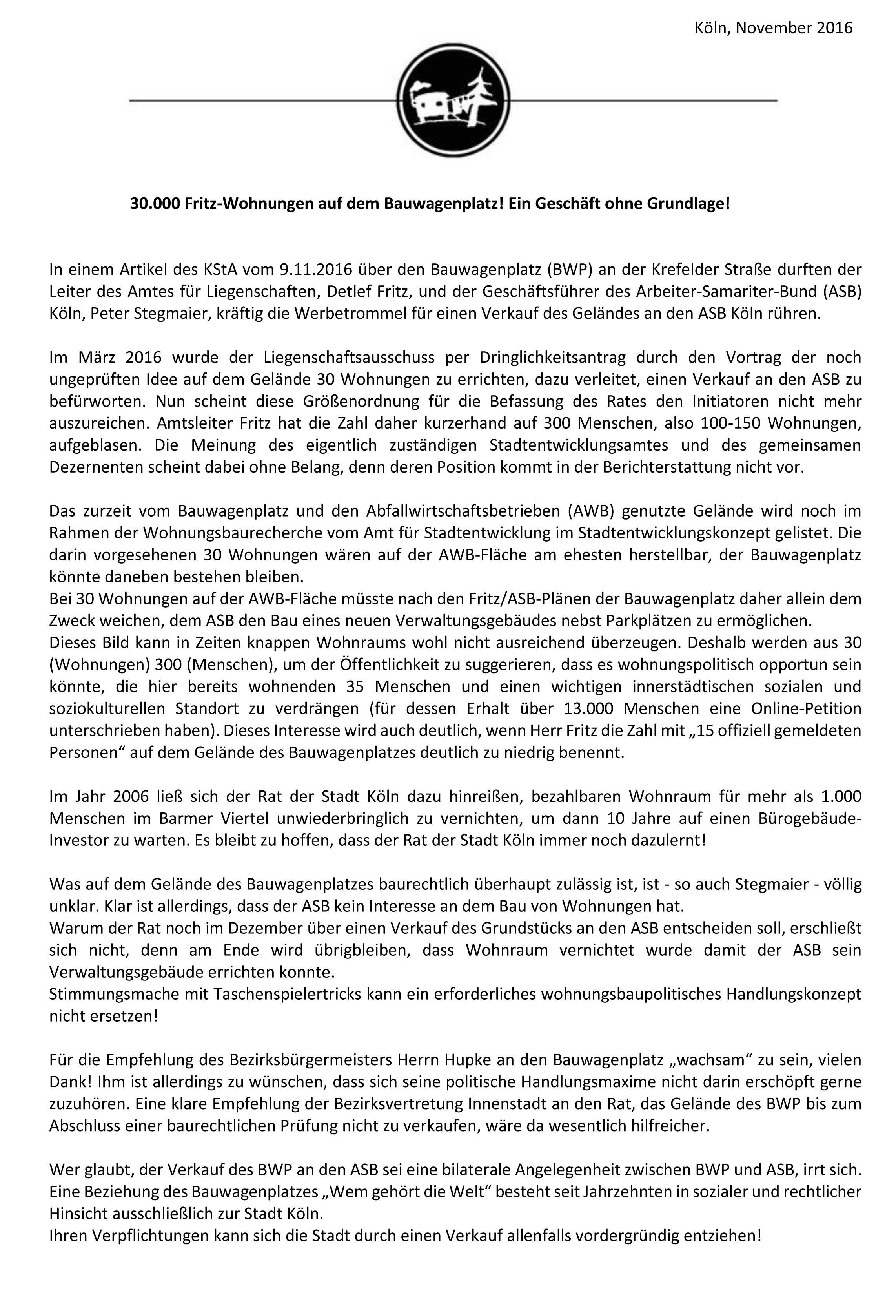 Wagenplatz ASB Stellungsnahme Stadtentwicklung